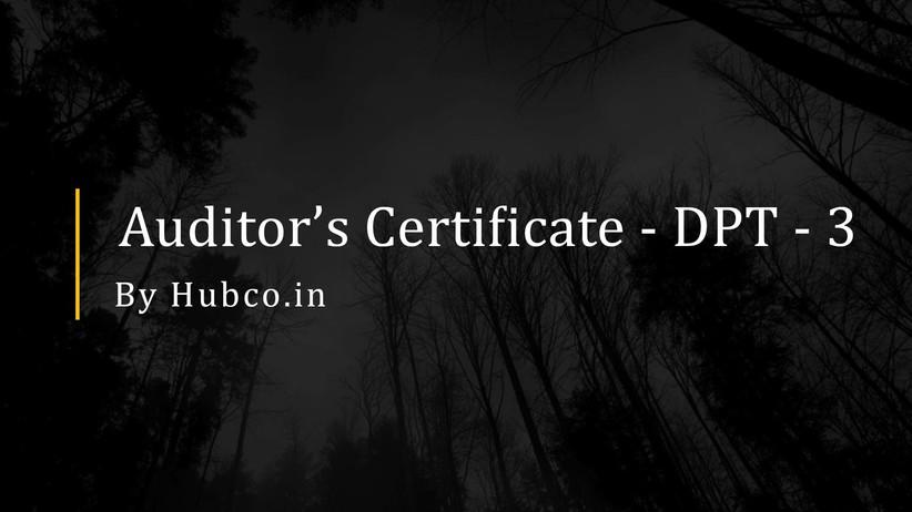 auditor certificate dpt3